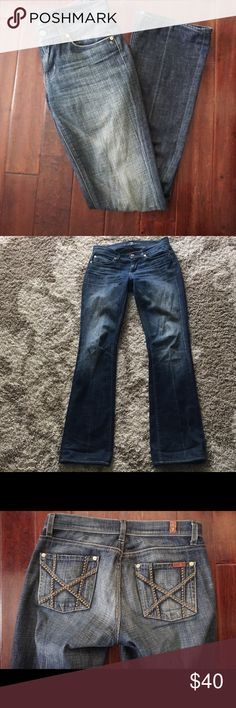 7 For All Mankind Jeans Great condition with some slight wear in the back the hem as shown in the pictures. Size 26. Length 41 inch. Feel free to ask any questions. Bundle in my closet and save! 7 For All Mankind Jeans Boot Cut