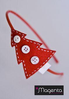 Diadema árbol de Navidad roja