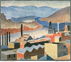 blanche lazzell artist | Lazzell, Blanche - The Monongahela at Morgantown (Click to enlarge)