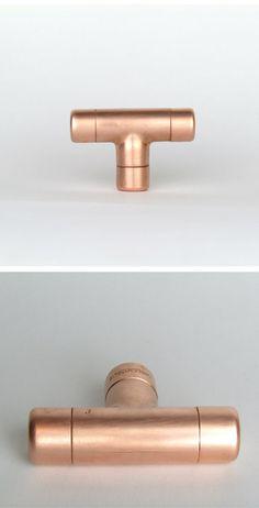 Moderne Kupfer T-Knopf. Zeitgenössische Schublade ziehen, Griff, Knopf. Schaltschrank-Regler, Küchenschrank-Regler. Küche Tür ziehen.