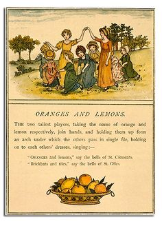 This is a game based around an old English children's song, called 'Oranges and Lemons', about the sounds of church bells in various parts of London.
