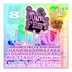 Theme & Poster design for JunkFest Luau Luau, Neon Signs, Music, Poster, Design, Musica, Musik, Muziek, Music Activities