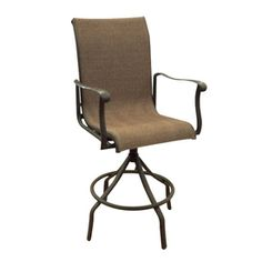 Allen Roth Set Of 4 Safford Swivel Sling Seat Aluminum Patio Bar Height Chairs