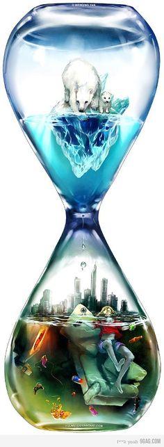 Una imagen que muestra muy graficamente los efectos del cambio climático.  Imagen de: http://yuumei.deviantart.com/gallery/#/d3lllcp