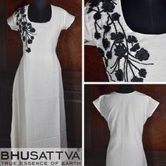 If White is the Code then we bring Pure White Women's Kurta with Floral Patch Design on one Side of Shoulder which makes unique combination of Black & White!  SW 3 – Certified Organic Kurta with one shoulder floral patch work embroidery in contrast  ‪#‎BhuSattva‬ ‪#‎CertifiedOrganic‬ ‪#‎WomensWear‬ ‪#‎DesignerWear‬ ‪#‎ResponsibleLuxury‬ ‪#‎DesignerKurta‬ ‪#‎WhiteKurta‬ ‪#‎FloralPatchWork‬ ‪#‎EssenceOfEarth‬
