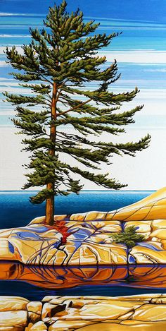 Lone Pine, Fox Islands, Oil on Canvas, 24 inches x 48 inches, SOLD Abstract Nature, Abstract Landscape, Landscape Paintings, Abstract Art, Canadian Painters, Canadian Artists, Art Pictures, Art Pics, Wildlife Art