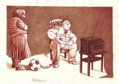 """Ball & chain""  #stefanotamiazzo #humour #cartoon #illustration #soccer #calcio"