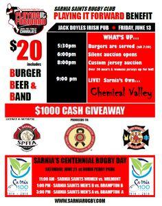 """Sarnia Saints """"Playing it Forward"""" Burger, Beer & Band Charity Fundraiser - Sarnia, Ontario"""
