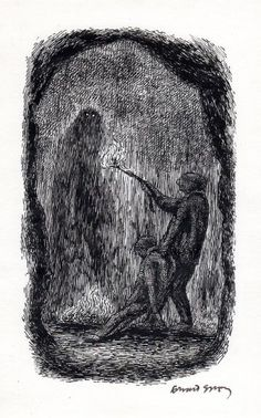 I recently acquired a piece of original artwork created by Edward Gorey for John Bellairs' The Curse of the Blue Figurine . Edward Gorey, Spooky Scary, Creepy, John Kenn, Fantasy Magic, Art Watercolor, Ink Illustrations, Pen Illustration, Fantastic Art