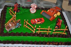 Mater and Lightning tractor tipping cake!