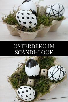 Scandi Osterdeko in schwarz - weiß: Ideen für skandinavische Osterdeko. Die natürliche Osterdeko ist schnell gebastelt. Die schwarz - weiß Ostereier eignen sich als Tischdeko für Ostern oder auch als Osterstrauch Anhänger.
