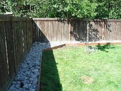 River Rock Fence Border (replacing bark for a cleaner border)