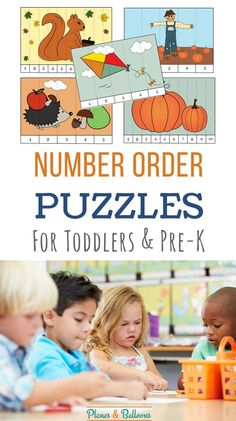 Number order puzzles FREE printable. Sequencing, numbers recognition 1-10, and fall worksheets for preschoolers all in one place!