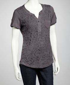 Take a look at this Plum & Gray Short-Sleeve Top on zulily today!