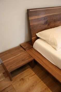 Slanted headboard for easier reading in bed
