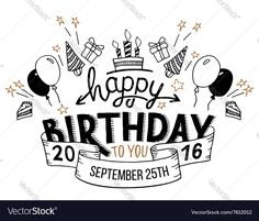 Vector image of Happy Birthday greeting card hand lettering Vector Image, includes happy, background, party, drawing & type. Illustrator (.ai), EPS, PDF and JPG image formats.
