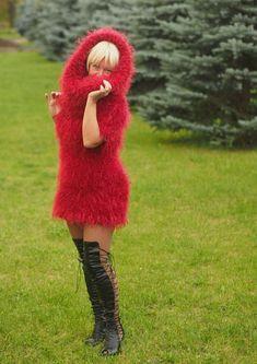 Mohair Suit, Black Turtleneck Dress, Gros Pull Mohair, Open Dress, Angora Sweater, Detachable Collar, Costume, Knit Dress, Hot