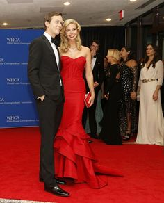 Gorgeous couple: The 33-year-old Ivanka Trump was ravishing in a red mermaid gown as she cosied up to her businessman husband, Jared Kushner, on the red carpet on Capitol Hill. 25 April 2015