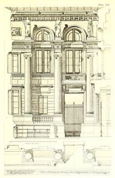 Elevation detail for the Ashmolean and Taylorian Institute,...