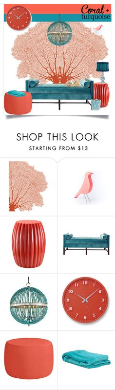 Color Challenge: Coral & Turquoise by tes-coll on Polyvore featuring interior, interiors, interior design, home, home decor, interior decorating, Kristin Drohan Collection, LORENZ, Lemnos and colorchallenge