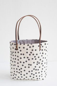 Charcoal Dots Tote Bag, Hand Printed Canvas, Leather Straps. $87.00, via Etsy.