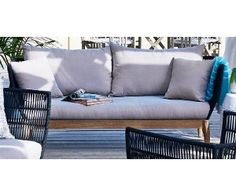 Australian House Garden Moeven 3 Seater Sofa In Eucalyptus Morning Mist Timber With Hand Woven Rope Weave Myer 799