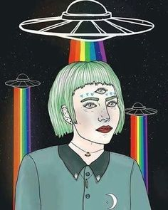 Imagem de alien, rainbow, and art Alien Tumblr, Tumblr Art, Rainbow Drawing, Rainbow Art, Spaceship Drawing, Trippy Alien, Arte Alien, Alien Aesthetic, Alien Drawings