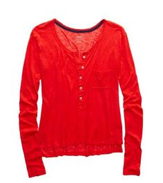 Holiday Red Aerie Henley T-Shirt American Eagle Men, Mens Outfitters, Lounge Wear, American Eagle Outfitters, Active Wear, Clothes For Women, Hoodies, Shorts, Casual