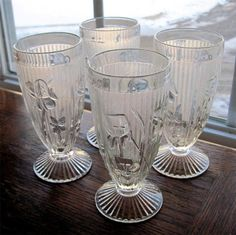 "Jeannette Glass Iris and Herringbone Crystal 6"" Tumblers"