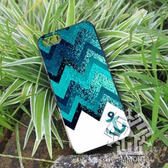 Chevron Anchor Blue Sparkly for iPhone 4, iPhone 4s, iPhone 5 Black Case - DC on Etsy, $15.88