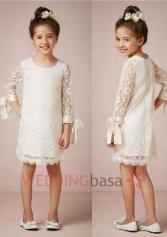 2015 New White Crew Flower Girls' Dresses Long Sleeves Illusion Knee length Sheath/Column Casual Little Girls Pretty Skirt Plus Size First Communion