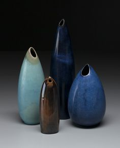 "Stig Lindberg, ""Gnurgla"" vases, 1960s. Glazed stoneware. Designed for Gustavsberg Studio in 1953. Sweden. Via Jacksons"
