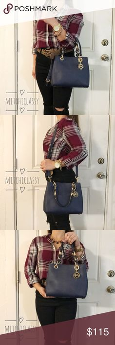 080ad4d36590a7 Spotted while shopping on Poshmark: •Michael Kors• Navy Blue Crossbody bag!  #