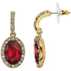 1928 Semi-Hoop Teadrop Halo Earrings, Women's, Red ($18) ❤ liked on Polyvore featuring jewelry, earrings, red, imitation jewelry, nickel free jewelry, earrings jewelry, charm jewelry and red earrings