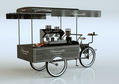 Bistromobile Project Source by Veloklaus… Microcar, Boulder Food, Coffee Food Truck, Container Coffee Shop, Coffee Carts, Bike Coffee, Food Cart Design, Bike Food, Coffee Trailer