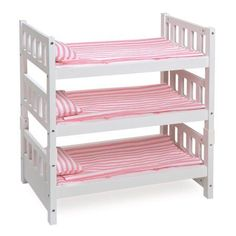 Badger Basket 1 2 3 Convertible Doll Bunk Bed With Bedding Pink
