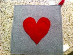 Upcycled Gray Felted Wool Potholder Hot Pad Trivet by DancingPurls, $10.00
