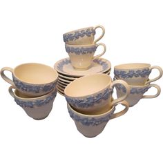 Eight Wedgwood Lavender Blue and Cream Queen's Ware Demitasse Cups and Saucers available from the Old Stone Mansion on Ruby Lane