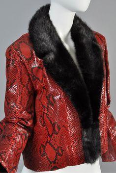 Bill Blass Mink Lined Python Skin Jacket | BUSTOWN MODERN