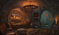 Contract Artwork by Matt Gaser Fantasy Concept Art, 3d Fantasy, Fantasy House, Fantasy Places, Fantasy Setting, Fantasy Artwork, Fantasy World, Fantasy Rooms, Fantasy Art Landscapes