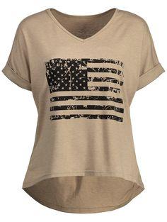 American Flag Graphic High Low Tee - KHAKI L