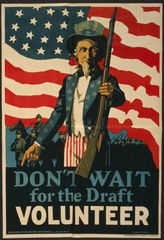 A World War 1 era poster with Uncle Sam asking men to volunteer rather than waiting to be drafted.Original image courtesy of the Library of Congress. American Flag Wall Art, Army Colors, Canvas Art, Canvas Prints, Thing 1, World War One, Vintage Posters, Vintage Prints, Poster Prints