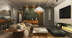 Two Homes for Stylish Young Families Who Love the Industrial Look (Interior Design Ideas) Living Room Sofa, Living Room Interior, Apartment Living, Modern Fireplace, Fireplace Design, Interior Exterior, Home Interior Design, Loft House, Study Rooms