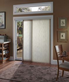 Window treatments for sliding glass doors are not always easy to pick out when decorating your home. A slider is usually a large part of the room and choosing a window treatment should not be a rush decision. Patio Door Blinds, Sliding Door Blinds, Patio Doors, Sliding Glass Door, Glass Doors, Window Blinds, Door Curtains, Sliding Door Shades, Panel Blinds