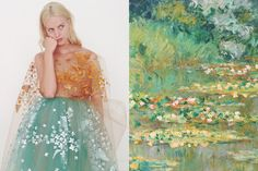 Match #255 Julia Frauche wearing Delpozo Spring 2015 | The Water Lily Pond (detail) by Claude Monet, 1904