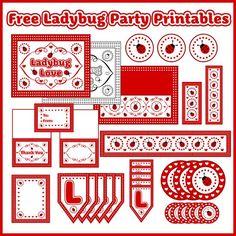 free ladybug birthday baby shower party printables