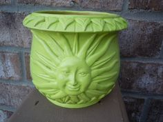 Decorative sun ceramic holder // neon green // by UpcycledWhimsies