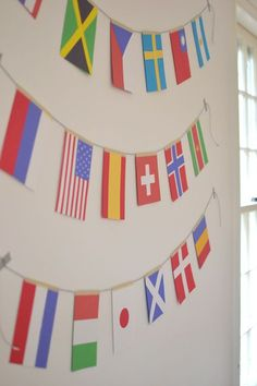 olympic flag garland ~ Some of these countries presented on this garland are not participating in the Olympics. Olympic Flag, Olympic Idea, Olympic Games Sports, Olympic Gymnastics, Olympic Crafts, Flag Garland, Summer Olympics, Office Olympics, Flags Of The World
