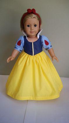 Robe de Blanche Neige.  Ensemble 3 morceaux pour les poupées American Girl et les autres poupées 18 pouces.