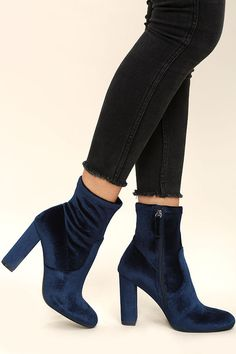 "Give your ensemble an instant update with the Steve Madden Edit Navy Velvet High Heel Mid-Calf Boots! Every it-girl will want these velvet booties with an almond toe, and a 7"" fitted shaft (with a bit of stretch). Zipper at instep."